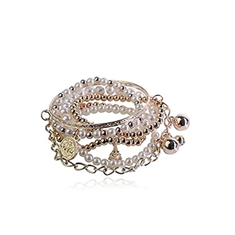 Lureme Bohemian Bead Pearl Multi Strand Textured Coin Star Ball Eiffel Tower Charm Gold Tone Stackable Bangle Bracelet Set for Women 06000189-1*