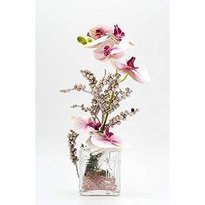 Rosa/pink,weiße Phalaenopsis in ihrer Glasvase-Tischgesteck,Tischdeko mit künstl.Orchideen