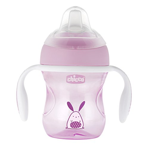 Chicco - Vaso de transición con boquilla de silicona, color rosa