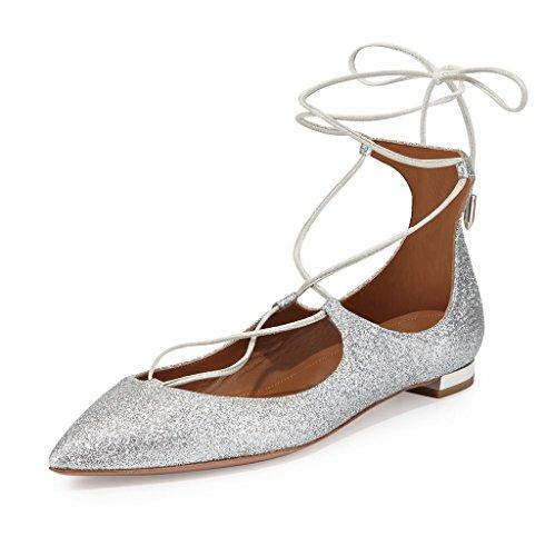 ELASHE - Femmes - Ballerines - Grande Taille Chaussures - Plates à lacets - Bout pointu fermé Argenté