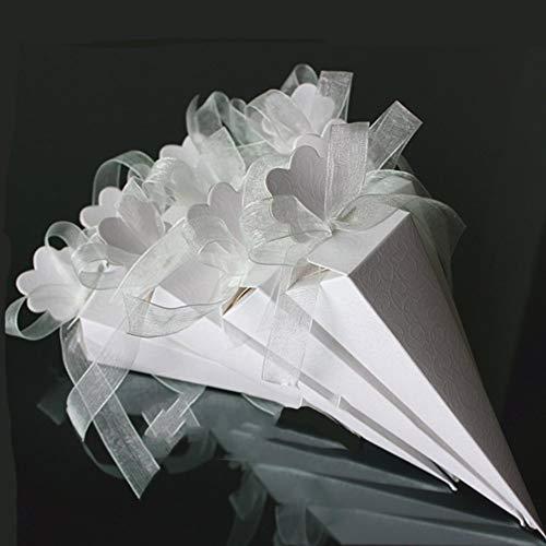 Xinfe 100 pz coni portariso matrimonio portaconfetti incluso nastri cono coni bianco decorazioni ricevimento bomboniere scatole