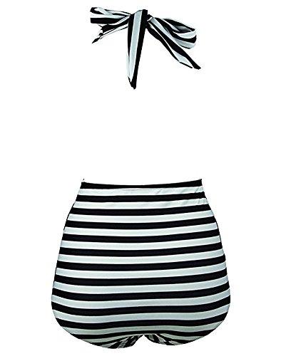 BLZ Costumi da Bagno Donna Intero a Righe Mare Halter Vita Alta Abito Spiaggia Monokini Sexy Vintage 5 spesavip