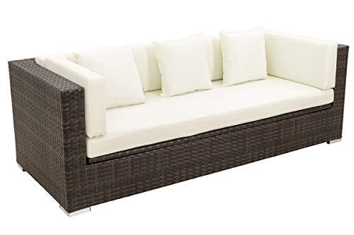 OUTFLEXX 3-Sitzer Sofa aus robustem Polyrattan in braun marmoriert mit Kissenboxfunktion inkl. Kissen-Polster, 210 x 85 x 70 cm, Lounge Sofa Gartencouch für 3 Personen, wetterfest, Gartenlounge