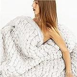 Blanket Adulto Grande Grosso Gigante Grande Coperta di Maglia Morbido Caldo Filato Lavorato A Mano all'Uncinetto Crochet Letto Casa Coperta Coperta Home Decor (Bianco/Blu),White-120 * 150cm