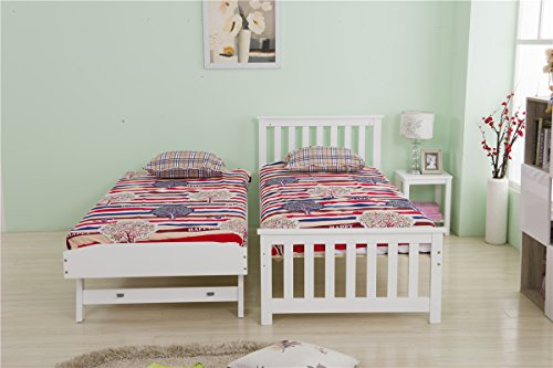 Yakoe Solid Pine Daybed Frame with Pull Out Trundle Bedroom Furniture, Wood, White, Single