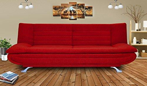Elite Beanbagwala 3 Seater Sofa Bed Fabric-Red
