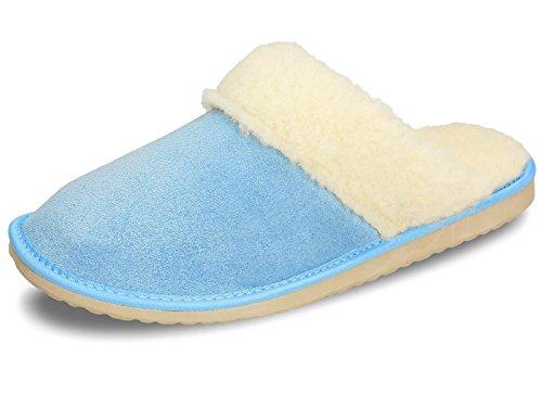 Ecoslippers , Damen Hausschuhe Blau Schleife