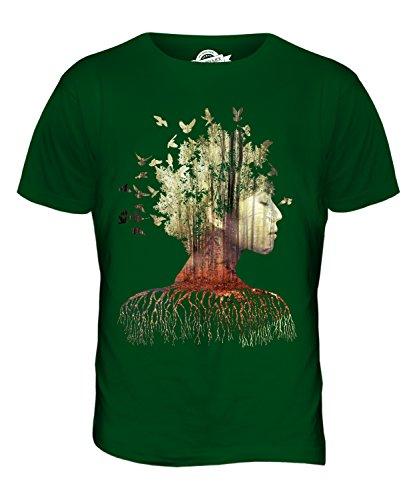 CandyMix Doppelbelichtung Modell Im Wald Herren T Shirt Flaschengrün