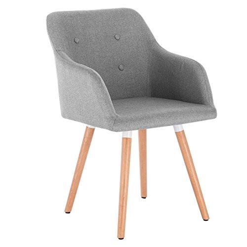 WOLTU 1 Chaise de salle à manger avec dossier,Chaise de salon design avec lin assises et bois massif jambes,Gris Clair BH88hgr-1