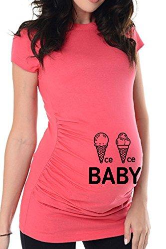 bellytime Rosa Ice Ice Baby, 40, Umstands T-Shirt/Schwangerschafts T-Shirt, Bedrucktes Shirt für Die Werdende Mutter, Tolles Geschenk, Witzig, liebevoll