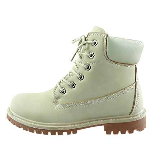 Angkorly - damen Schuhe Stiefeletten - Combat Boots - Biker - Fertig Steppnähte Blockabsatz 3 CM Beige