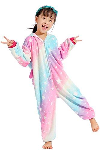 (Kreative 3D Einhorn Pyjama Nachtwäsche Cosplay Kostüm Unicorn Schlafanzüge Für Jungen Mädchen (116-125 cm, Starry Sky))
