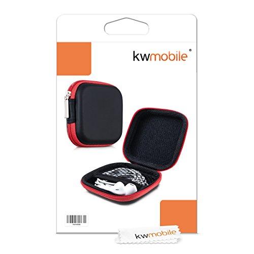 kwmobile In-Ear Kopfhörer Tasche - In Ear Headphones Schutztasche - Earphones Etui Case Cover Hülle für Kopfhörer in Rot - 4