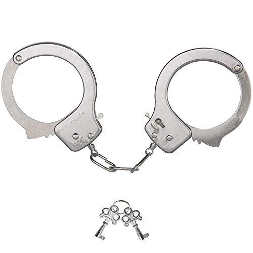 Oramics Handschellen für Kinder, Polizei Handschellen aus Edelstahl mit 2 Schlüssel, zum Räuber und Gendarm Spielen für Fasching und Karneval