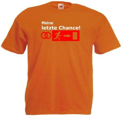 T-Shirt für den Junggesellinnenabschied mit dem Motiv Meine letzte Chance Orange