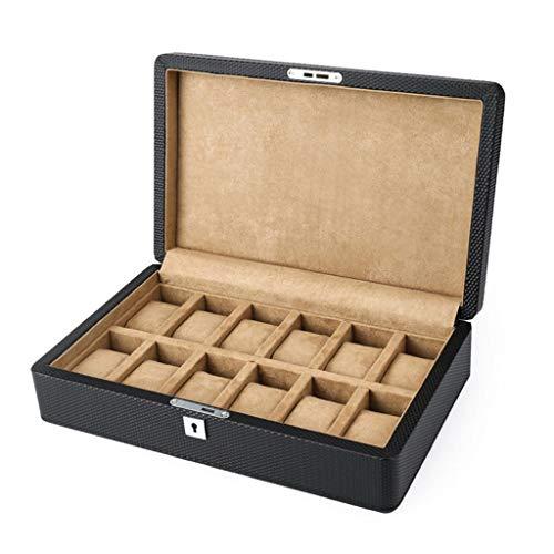 SODDEY Schwarze Leder Uhrenbox für Herren, 12 Slots Watch Aufbewahrungskoffer Display Organizer Geschenkbox mit Schlüssel (12 Tray Paint)