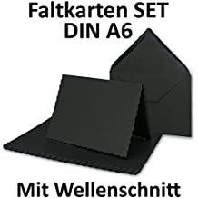 DIN A6 Faltkarten Sets Mit DIN C6 Briefumschlägen | Wellenschnitt  Schwarz  | 25 Sets | Einladungskarten   Menükarten   Blanko | 10,5 X 14,8 Cm | Mit  ...