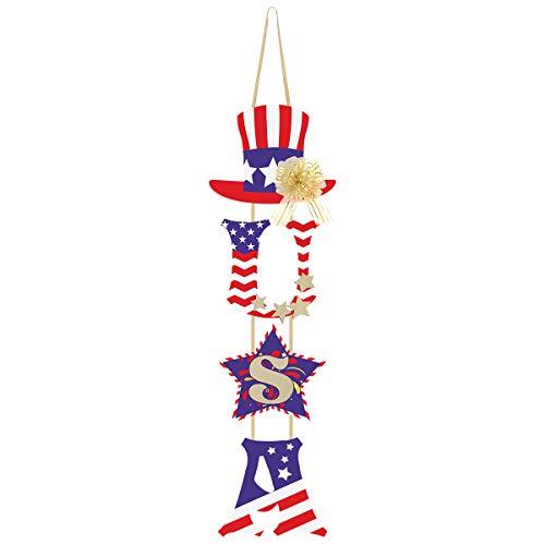 Unomor 4. Juli Dekorationen - U.S.A Tür-Hängedekoration mit Zugschleife für Unabhängigkeitstag - Patriotische Dekoration (Juli Party-ideen 4.)