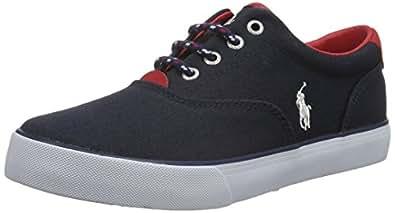 Polo Ralph Lauren  Vaughn, Sneakers basses garçon - Bleu - Blau (Navy Canvas w Red Leather), Taille 38 EU