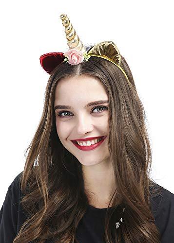 kercisbeauty handgefertigt Einhorn Weich Gold Katze Ohr Kopfband mit Rose Blumen für Damen und Teenager Mädchen, Halloween-Kostüm
