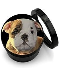 ManoaShark Tunnel Plug Flesh Motiv Schwarz Bulldogge Hund