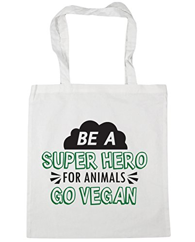 hippowarehouse-be-a-super-hero-for-animals-go-vegan-tote-shopping-gym-beach-bag-42cm-x38cm-10-litres