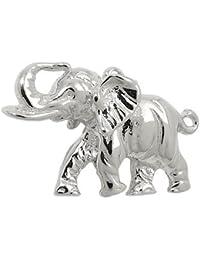 Colgante de elefante con trompa hacia arriba maciza 925 la plata Halschmuck