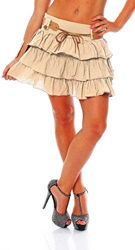ZARMEXX dolce delle signore a balze mini gonna gonna estate del pannello esterno con il pannello esterno volant Cotton Belt Beige