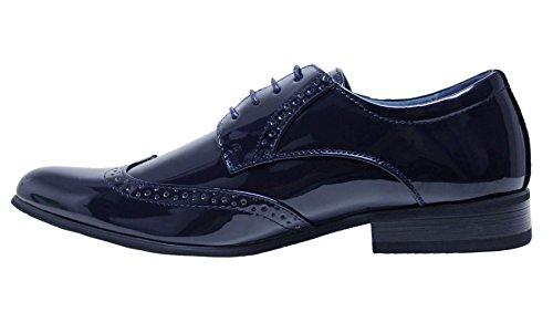 Scarpe uomo class eleganti blu scuro vernice linea classica cerimonia (40)