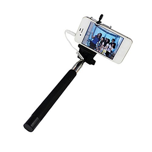 Smile n Click Smile n Click Selfie Stick with AUX CABLE for Apple iphones , Samsung Mobile,oneplus One Black