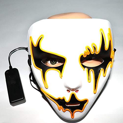 (Halloween Maske LED Masken leuchten Scary Maske leuchten Cosplay Maske Glow in Dark für Festival Music Party Kostüm Typ B weiß)