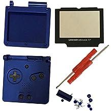 Meijunter Reemplazo Cubierta de la carcasa Housing Shell Case Cover con Lente de la pantalla & Destornilladores para Nintendo Gameboy Advance SP GBA SP Consola (azul)