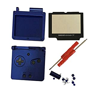 Meijunter Ersatz Gehäuse Hülle Housing Shell Case Cover mit Bildschirm Bildschirmobjektiv & Schraubenzieher Tool Ersatzteile für Nintendo Gameboy Advance SP GBA SP Console (blau)