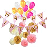 Voberry- 30 Piece Birthday Balloons, Anniversary Decoration Set by - Happy Birthday Banner - Birthday Party Supplies Paper Flowers Pink