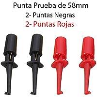 4x Punta Negra y Roja de Prueba Redonda con Gancho 58mm. Test Hook Clip