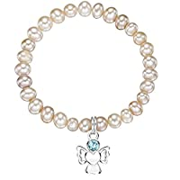 Jo for Girls Freshwater Pearl Bracelet with Sterling Silver March Birthstone Angel Charm CBMARpp