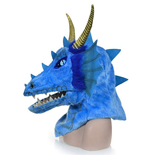 Blue Kostüm Dragon - YIJIAN-MASK Tierische Pelzmaske Heißer Cosplay Benutzerdefinierte Tiere Maske Design Moving Mouth Blue Dragon Head Bunte Tier Pelz Party Maske Fabrik Halloween Und Party Spaß Tiermaske Tier-Halsmaske