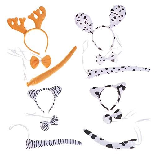 Holibanna 4 sätze lustige hirsche fleckig Hund Kuh Zebra kostüm Stirnband Ohr mit Schwanz - Hirsch Kostüm Für Hunde