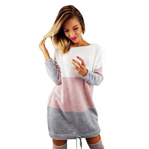 OverDose Damen Strickkleid Holiday O Kragen stricken Partei Dress Langarm Kleid Casual Blusenkleid Shirt Bluse Mini Dress(A-Rosa,S) (Petticoat Bridal Voll)