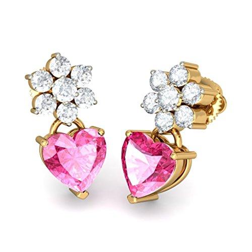 14K giallo oro 0.47Cttw white-diamond (Ij | si) e tormalina rosa orecchini pendenti