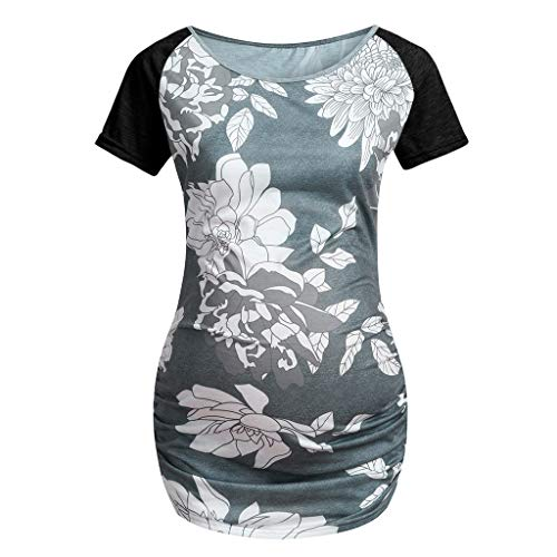 Lonshell Mutterschafts Damen Kurzarm Umstandsshirt Sommer Tops Pullovershirt für Schwangerschaft Drucken Umstandsmode T-Shirt Tuniken Oberteile