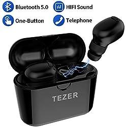 TEZER Ecouteur Bluetooth Oreillette V5.0 Sport,Réduction de Bruit CVC 6.0 pour iphone x 8 7 6s 6 + ipad Samsung S8 + note8 s9 s9 + HTC Huawei P10 9 LG Xiaomi (Black)