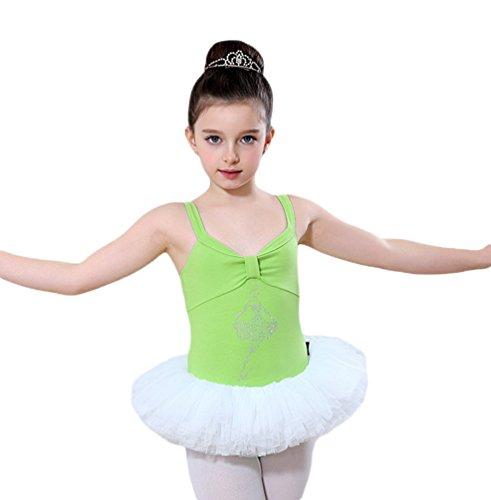Yiiquan Mädchen Ballettkleid, Kinder Ballettanzug Tütü Ballett Trikot Turnanzug Kleid Ärmellos (Licht Grün, Asia 160)
