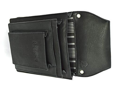 Große Professionelle Taplet iPad mini bis 8 Zoll Gastronomie Kellnertasche Leder schwarz- Wildleder braun (schwarz)