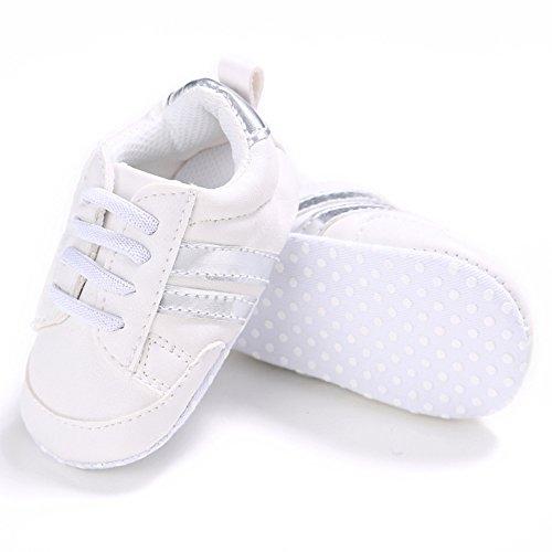 Nicholco , Baby Jungen Lauflernschuhe White + Silver Edge 6-12 Monate White + Silver Edge