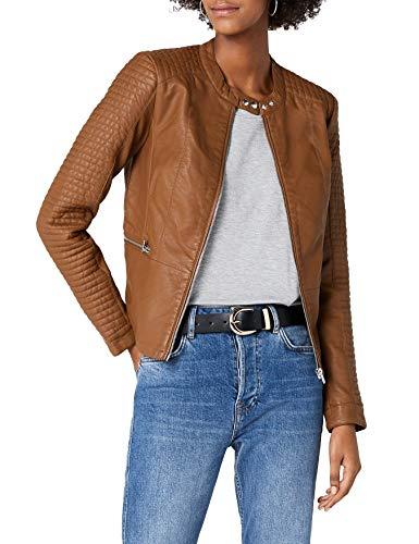 ONLY Damen Jacke onlHEART Faux Leather Jacket OTW NOOS Braun Cognac, Medium (Herstellergröße: 38)