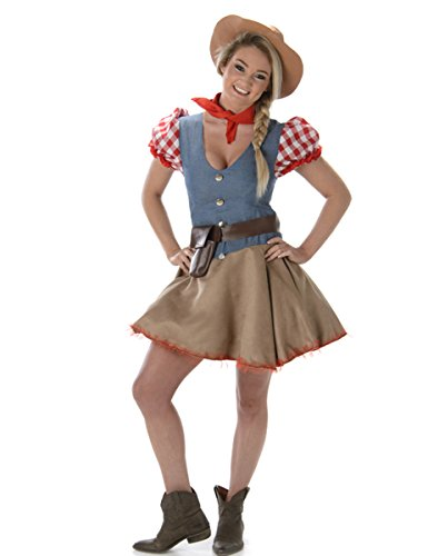 Rodeo Cowgirl Ladies Fancy Dress Wild West Western Womens Cowboy Adult (Rodeo Girl Kostüme)