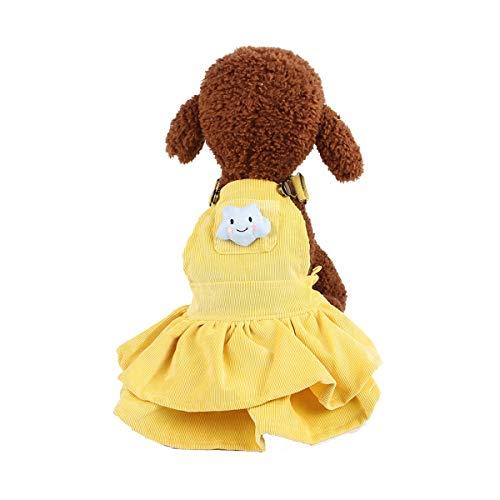 JYMDH Schöne Prinzessin WinterTutu Dress Bow Blase Welpen Puppy Kleidung Dog Dress Kleidung,Yellow,XS -