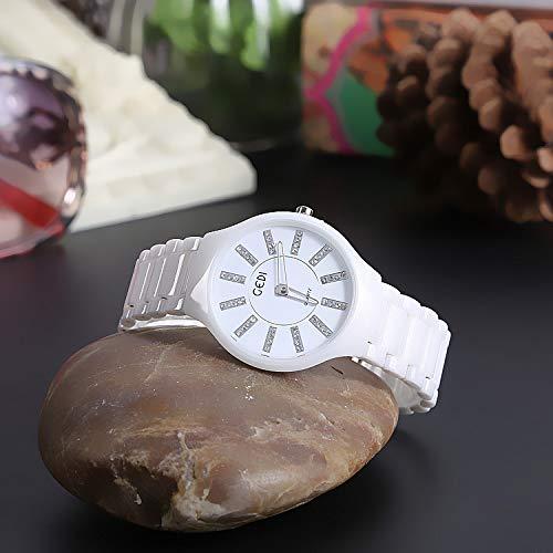 WZFCSAE Damenuhr Mit Diamanten Britische Uhr Doppelte Schmetterlingsschnalle Keramikuhr Leukorrhoe + Weiße Platte + Silberne Skala