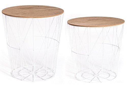 PEGANE Lot de 2 Tables filaires e Bois et métal Coloris Blanc